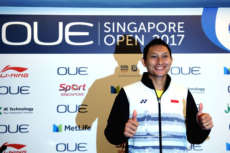 SINGAPORE, April 10, 2017 - Indonesia's Sony Dwi Kuncoro poses for photos during the OUE Singapore Open pre-competition press conference held in Singapore on April 10, 2017. OUE Singapore Open will ...