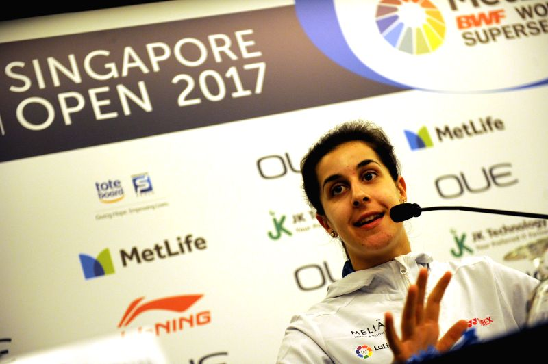 SINGAPORE, April 10, 2017 - Spain's Carolina Marin attends the OUE Singapore Open pre-competition press conference held in Singapore on April 10, 2017. OUE Singapore Open will be held at the ...