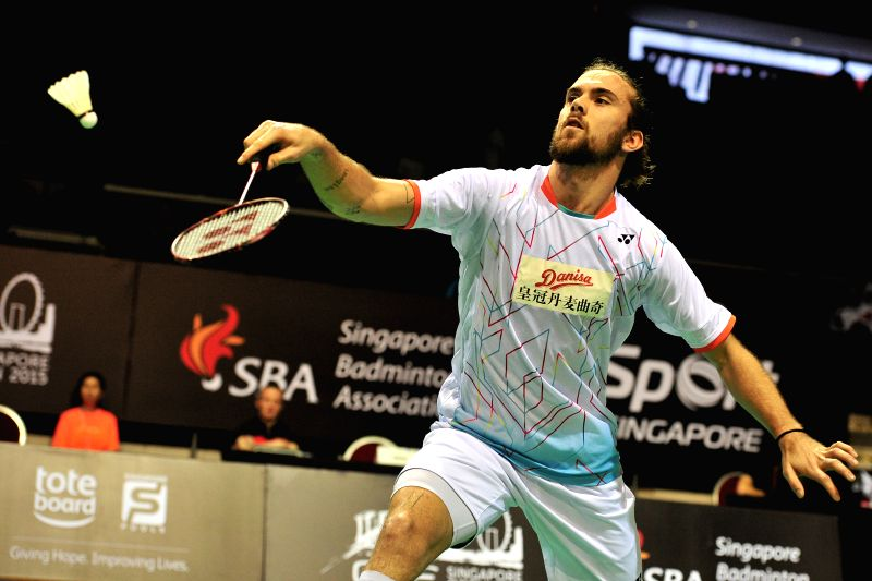 Jan O Jorgensen of Denmark competes during his men's singles round two match against H. S. Prannoy of India at the OUE Singapore Open in Singapore, April 9, 2015. ...