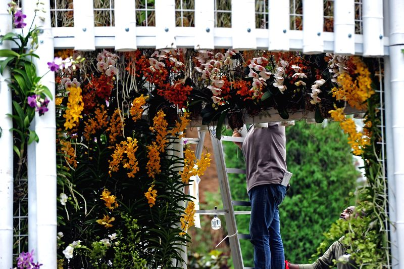 "Workers prepare the display at the ""Orchid Extravaganza @ Flower Dome"" at the Singapore's Garden by the Bay on Aug. 11, 2014. The Singapore Garden ..."