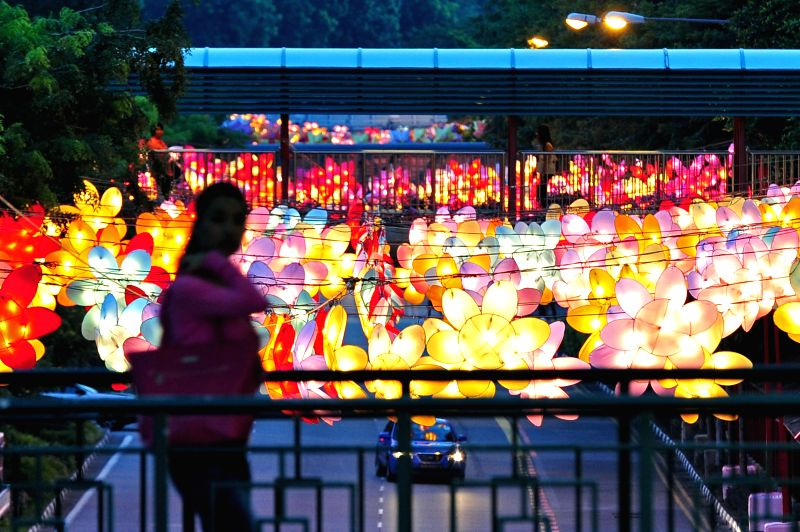 A woman walks past the lanterns for the Mid-Autumn Festival media preview in Singapore's Chinatown, Aug. 19, 2014.