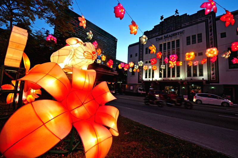 Lanterns light up the street for the Mid-Autumn Festival media preview in Singapore's Chinatown, Aug. 19, 2014.