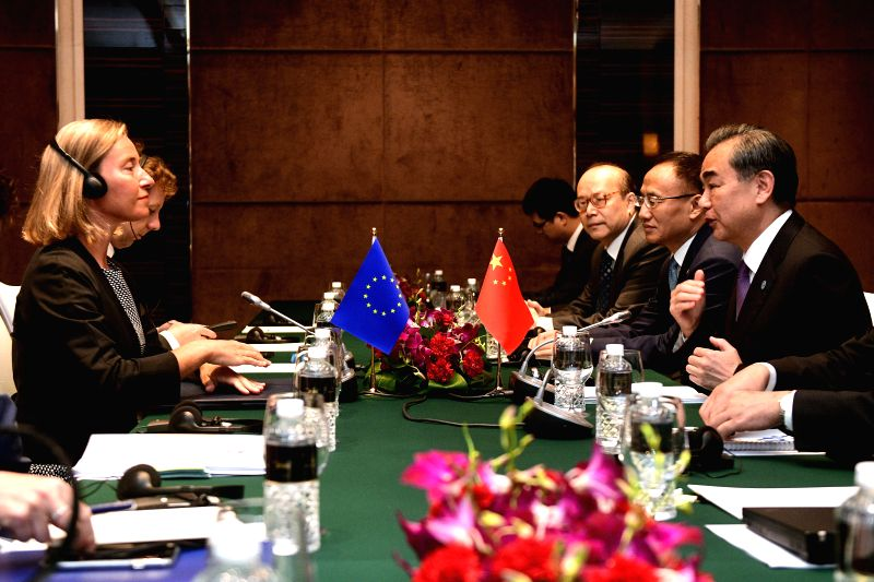 SINGAPORE, Aug. 3, 2018 - Chinese State Councilor and Foreign Minister Wang Yi (R) meets with Federica Mogherini (L), the high representative of the European Union for Foreign Affairs and Security ... - Wang Y