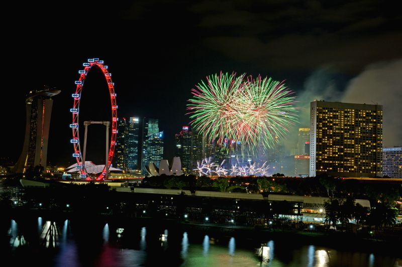Fireworks light up the sky during the National Day Parade in Singapore on Aug. 9, 2014. Singapore celebrates the 49th anniversary of independence on Saturday.