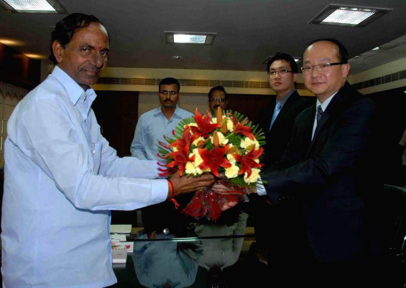 Singapore consulate general Roy Kho during a meeting with Telangana Chief Minister K Chandrasekhar Rao in Hyderabad on June 18, 2014. - K Chandrasekhar Rao