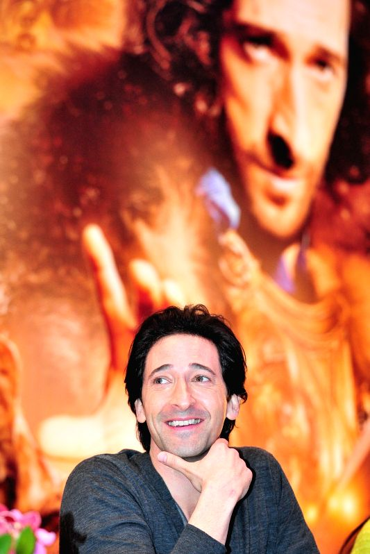 """American actor Adrien Brody attends the press conference of movie """"Dragon Blade"""" in Singapore, Feb. 10, 2015. Today, Cast members of the movie ... - Adrien Brody"""
