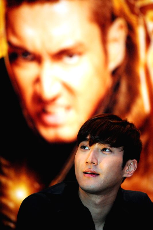 """Korean actor Choi Si-won attends the press conference of movie """"Dragon Blade"""" in Singapore, Feb. 10, 2015. Today, Cast members of the movie """"Dragon - Choi S"""