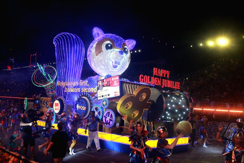A float parades during the 2015 Chingay at Singapore's F1 Pit Building, Feb, 27, 2015. Coincided with the 50th anniversary of Singapore's independence, the ...