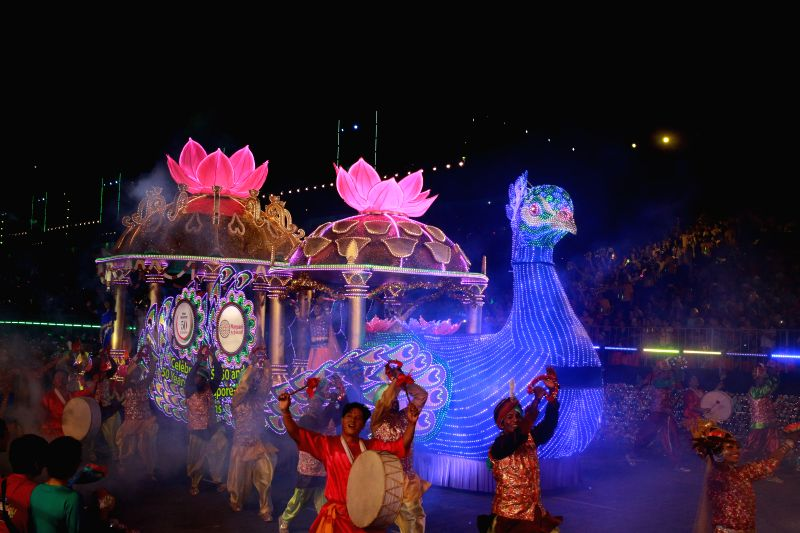 An Indonesia float parades during the 2015 Chingay at Singapore's F1 Pit Building, Feb, 27, 2015. Coincided with the 50th anniversary of Singapore's independence, ...