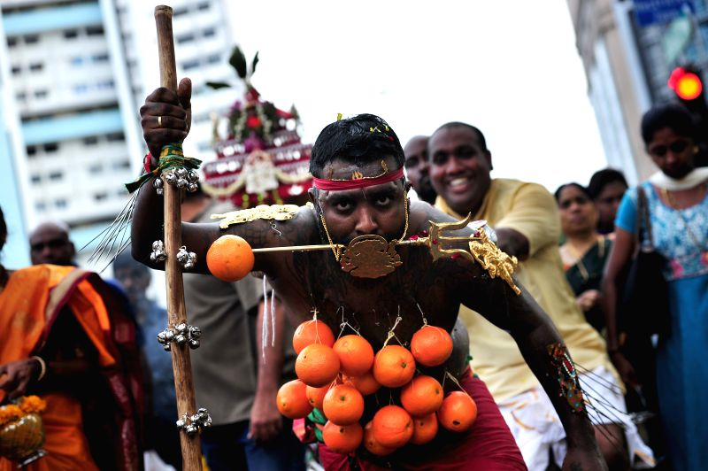 Singapore's Hindus participate in Thaipusam activities in Singapore's Little India, Feb. 3, 2015. Singapore's Hindus on Tuesday celebrate the Thaipusam, the ...