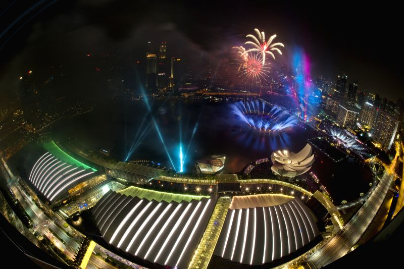 Fireworks light up the sky above Singapore's Marina Bay area on Jan 1, 2015. Today, Singapore celebrates the crossing over to the new year and its 50th anniversary