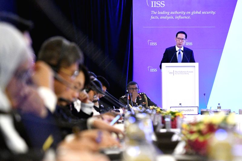 SINGAPORE, Jan. 29, 2018 - South Korean Defense Minister Song Young-moo speaks at the Shangri-La Dialogue (SLD) Sherpa Meeting held in Singapore on Jan. 29, 2018. - Song Young