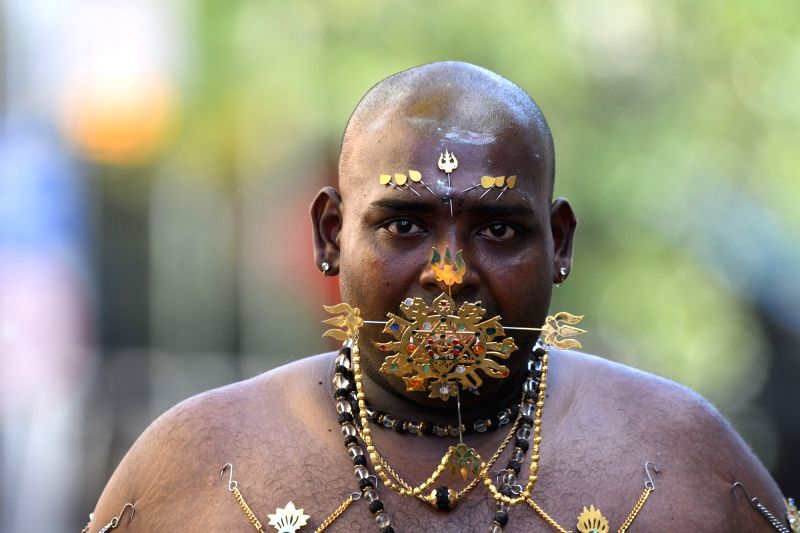 SINGAPORE, Jan. 31, 2018 - A Hindu devotee participates in the Thaipusam procession in Singapore's Little India on Jan. 31, 2018. Thaipusam, which falls on January or February of each year, is a day ...