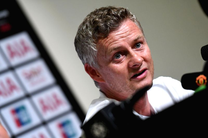 SINGAPORE, July 19, 2019 (Xinhua) -- Manchester United's manager Ole Gunnar Solskjaer attends a pre-match press conference prior to the International Champions Cup football match between Manchester United of Britain and Inter Milan of Italy, in Singa