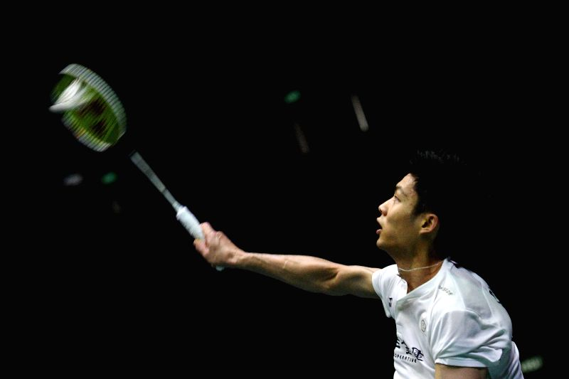 SINGAPORE, July 22, 2018 - Chou Tien Chen of Chinese Taipei returns the shuttlecock during the men's singles final against Hsu Jen Hao of Chinese Taipei at the Singapore Badminton Open held at the ...