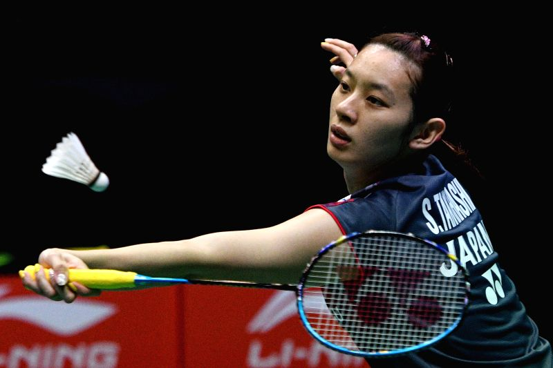 SINGAPORE , July 22, 2018 - Japan's Sayaka Takahashi competes during the women's final match against China's Gao Fangjie at the Singapore Badminton Open in Singapore, July 22, 2018. Sayaka Takahashi ...