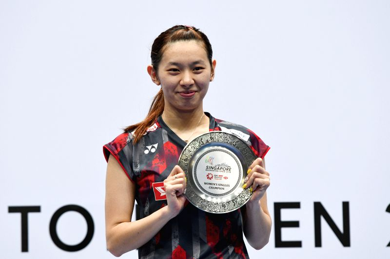 SINGAPORE , July 22, 2018 - Japan's Sayaka Takahashi poses for photo during the awarding ceremony of women's final match against China's Gao Fangjie at the Singapore Badminton Open in Singapore, July ...