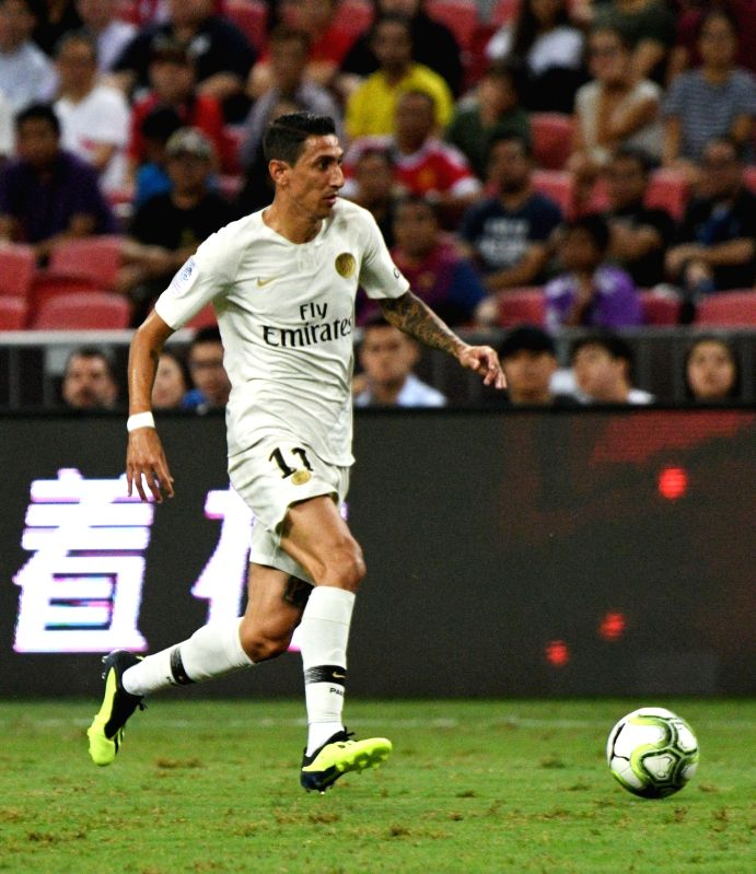 SINGAPORE, July 30, 2018 - Paris Saint-Germain's Angel Di Maria drives the ball during the International Champions Cup match between Paris Saint-Germain and Atletico de Madrid held in Singapore on ...