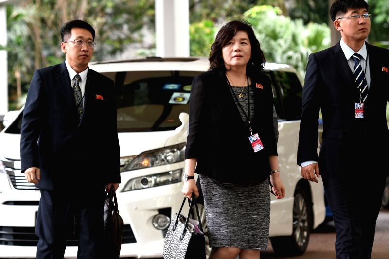 SINGAPORE, June 11, 2018 - Choe Son Hui (C), vice foreign minister of the Democratic People's Republic of Korea (DPRK), arrives for a meeting at the Ritz-Carlton hotel with U.S. delegates ahead of ...