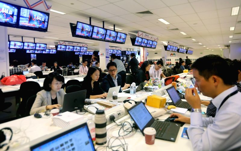 SINGAPORE, June 12, 2018 - Reporters work at the international media center in Singapore, ahead of the historic summit between top leader of the Democratic People's Republic of Korea (DPRK) Kim Jong ...