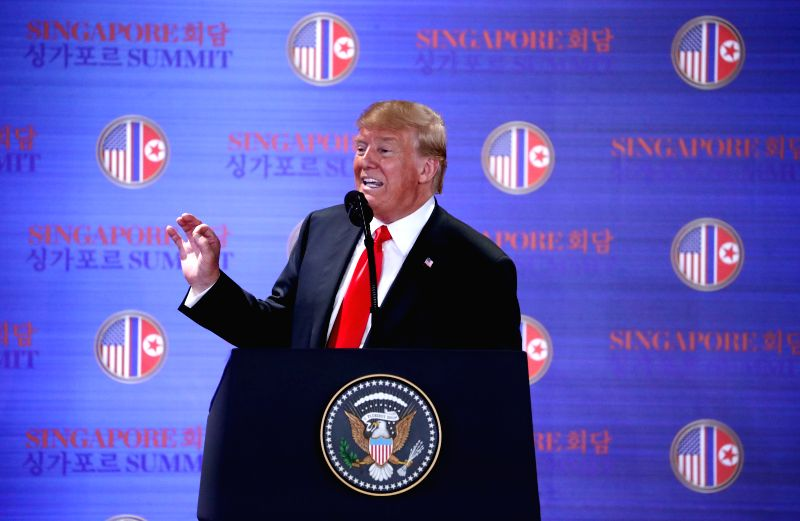 SINGAPORE, June 12, 2018 - U.S. President Donald Trump speaks during a press conference in Singapore on June 12, 2018. The United States will stop conducting war games with South Korea, U.S. ...