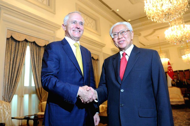 SINGAPORE, June 2, 2017 - Singapore's President Tony Tan (R) meets with Australia's Prime Minister Malcolm Turnbull in Singapore June 2, 2017. Turnbull began a three-day official visit in Singapore ... - Malcolm Turnbull