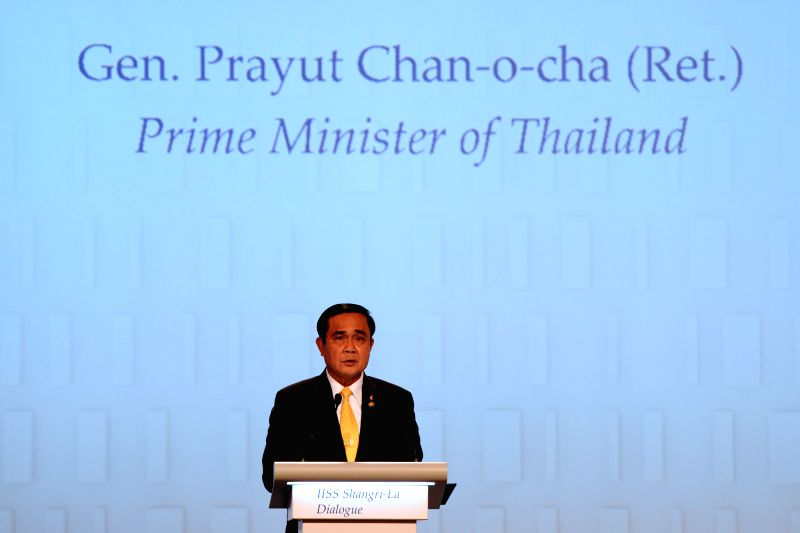 SINGAPORE, June 3, 2016 - Thai Prime Minister Prayut Chan-o-cha delivers a keynote address at the opening of the Shangri-La Dialogue in Singapore, June 3, 2016. - Prayut Chan