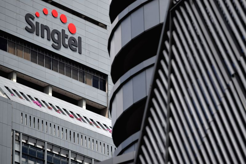 SINGAPORE, May 12, 2016 - Photo taken on May 12, 2016 shows the Singtel logo outside the Singtel headquarters building in Singapore. Singapore Telecommunications Ltd, Souththeast Asia's largest ...