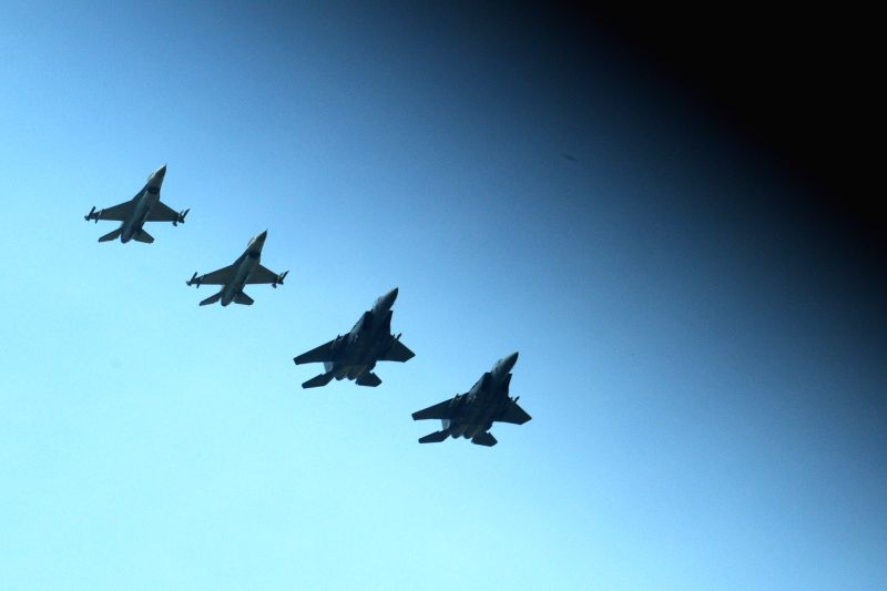 SINGAPORE, May 16, 2016 - F-16 and F-15SG fighter jets of the Republic of Singapore Air Force (RSAF) fly over east Singapore, May 16, 2016. The RSAF will hold the RSAF Open House at Paya Lebar Air ...