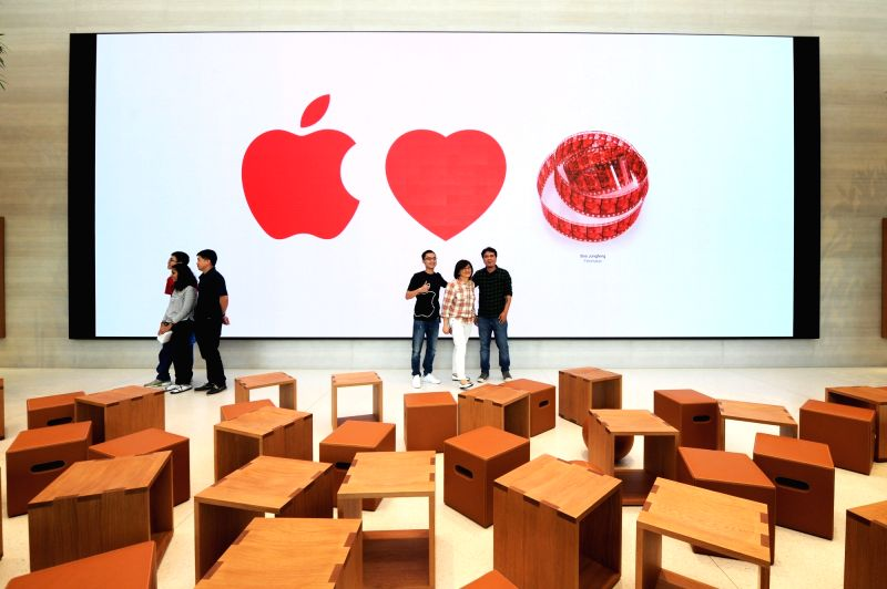 SINGAPORE, May 27, 2017 - Customers visit the Apple Store at Singapore's Orchard Rd on May 27, 2017. The first Apple Store in southeast Asia opened in Singapore on Saturday.