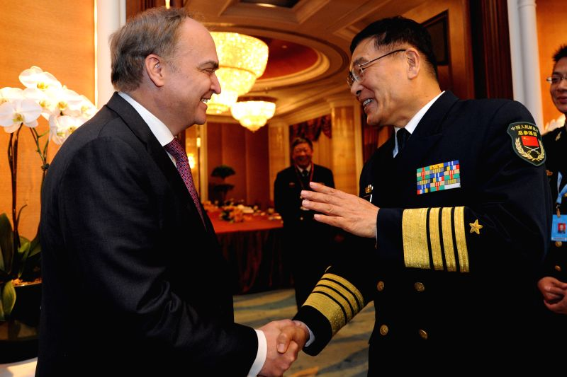 Admiral Sun Jianguo (R), vice chief of staff of China's People's Liberation Army (PLA), meets with Russian Deputy Defense Minister Anatoly Antonov on the sidelines ... - Anatoly Antonov