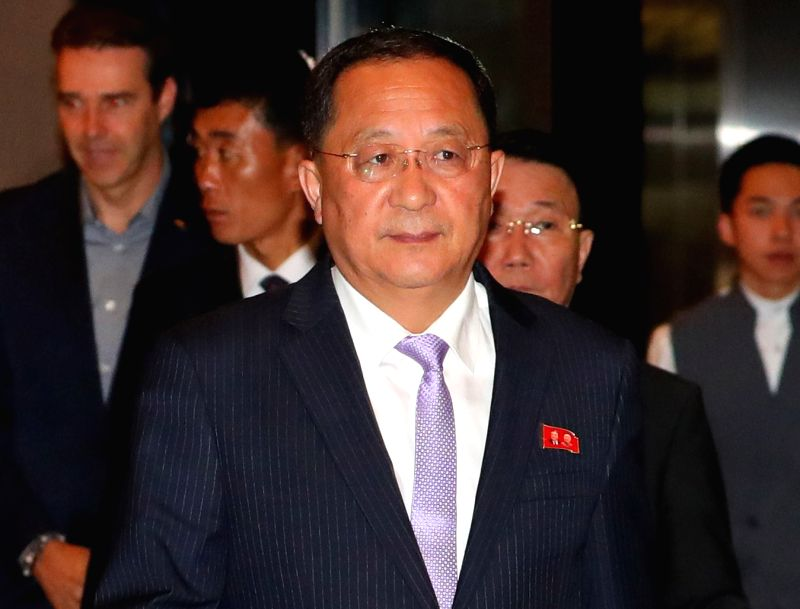 Singapore: North Korean Foreign Minister Ri Yong-ho enters a hotel in Singapore on Aug. 3, 2018, after flying into the city-state to attend the ASEAN Regional Forum.(Yonhap/IANS)