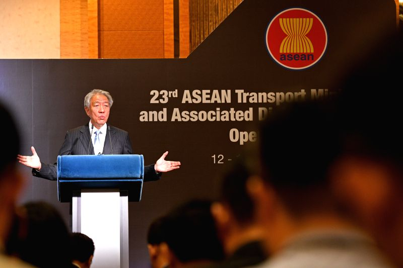 SINGAPORE, Oct. 12, 2017 - Singapore's Deputy Prime Minister and Coordinating Minister for National Security Teo Chee Hean speaks at the opening ceremony of the 23rd ASEAN transport ministers meeting ...