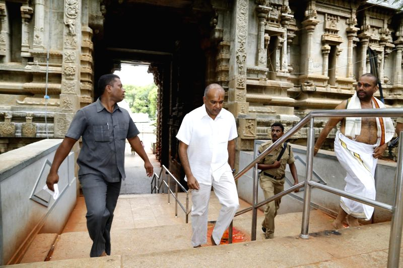 Singapore's Foreign and Law Minister K Shanmugam during his visit to Lord Venkateswara Temple at Tirumala on July 5, 2014. - K Shanmugam