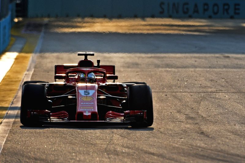 SINGAPORE, Sept. 14, 2018 - Ferrari's driver Sebastian Vettel of Germany drives in the first practise session of the Formula One Singapore Grand Prix Night Race held at the Marina Bay Street Circuit ...