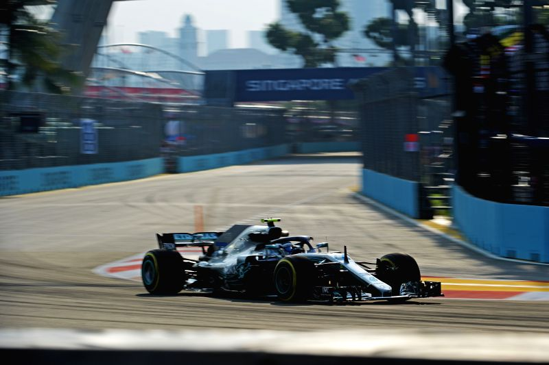 SINGAPORE, Sept. 14, 2018 - Mercedes' driver Valtteri Bottas of Finland drives in the first practise session of the Formula One Singapore Grand Prix Night Race held at the Marina Bay Street Circuit ...