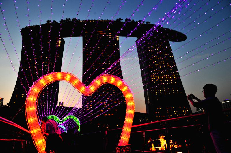 Visitors view lanterns for the upcoming Mid-Autumn Festival in Singapore, Sept. 4, 2014. A light-up ceremony is held here before the festival. (Xinhua/Then Chih ..