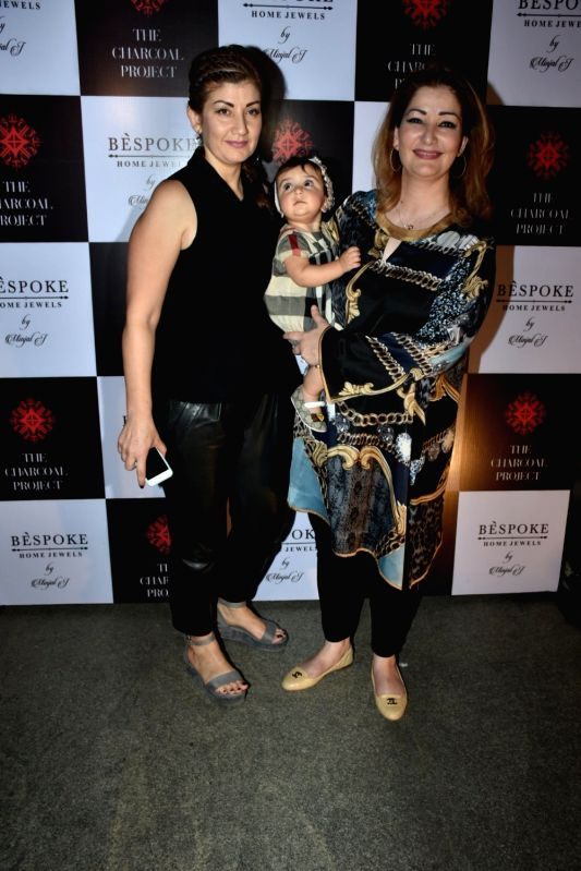 Singer Adnan Sami's wife Roya Faryabi with her daughter Medina Sami Khan at a store launch in Mumbai on April 13, 2018 . - Sami Khan