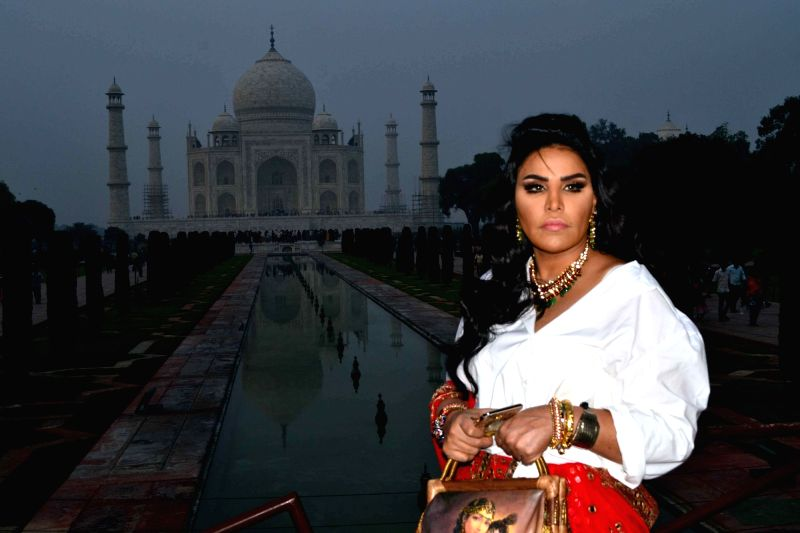 Singer Ahlam during her visit to the Taj Mahal in Agra, on Dec 2, 2015.