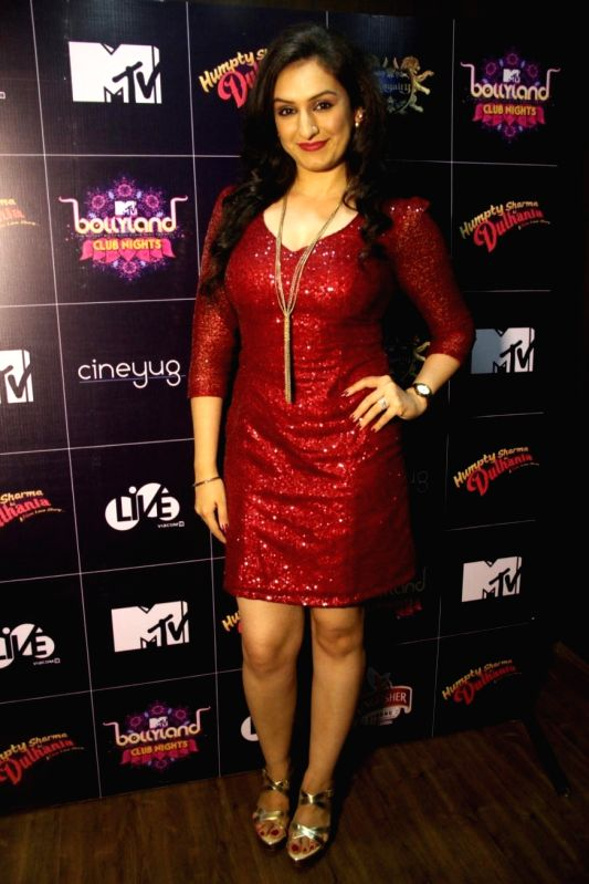 Singer Akriti Kakkar during LIVE Viacom18`s MTV Bollyland Club Nights celebratation Reel life Bachelor party with glamour and oomph in the Mumbai on June 21, 2014.