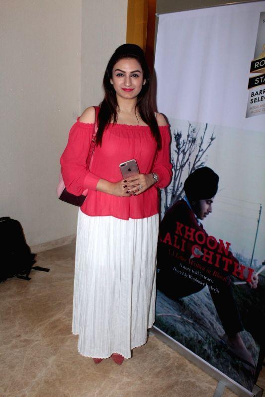 Singer Akriti Kakkar during the screening of Punjabi short film Khoon Aali Chithi in Mumbai on April 24, 2017.