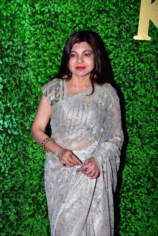Singer Alka Yagnik at the wedding reception of lyricist Sameer Anjaan's daughter Suchita in Mumbai, on Jan 22, 2019.