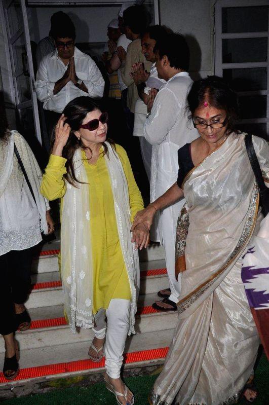 Singer Alka Yagnik during the condolence meet of filmmaker Dharmesh Tiwari in Mumbai, on August 9, 2014.