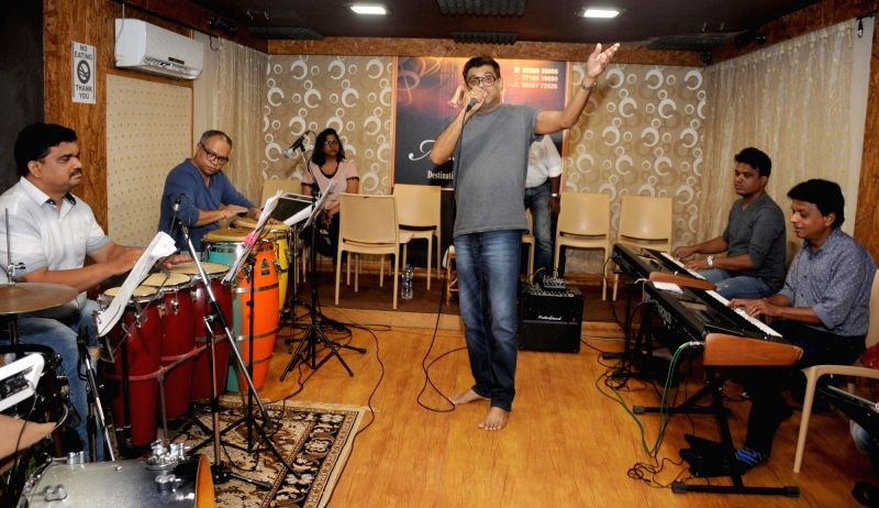 Singer Amit Kumar during a jam session, in Mumbai on June 9, 2018. - Amit Kumar