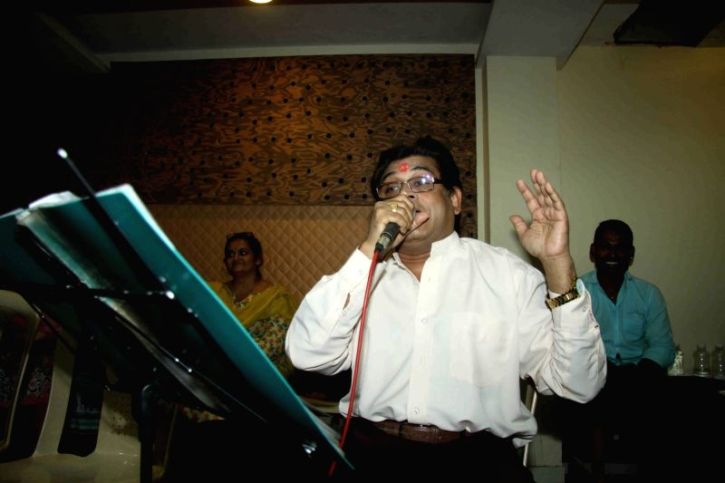 Singer Amit Kumar during the rehearsal for music concert of 50 year in Music Industry in Mumbai on Dec 2, 2015.