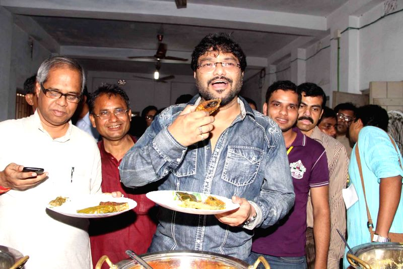 Singer and BJP MP from Asansol Babul Supriyo during Hilsa Festival at Birati in North 24 Parganas of West Bengal on Aug 24, 2014.