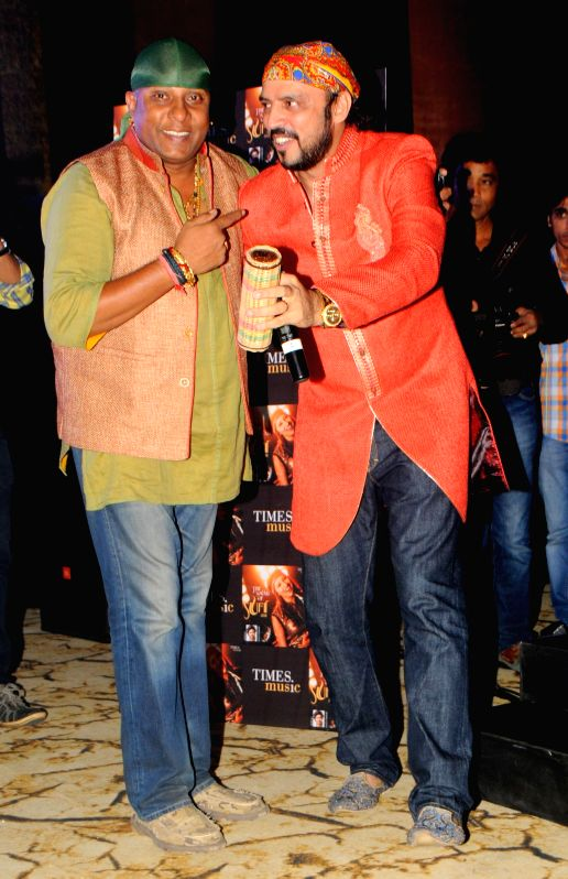 "Singer and Composer Rajeev Mahavir and Shivamani during the launch of sufi album ""Sound Of Sufi"" at Hotel Sahara Star in Mumbai on June 18th, 2014"