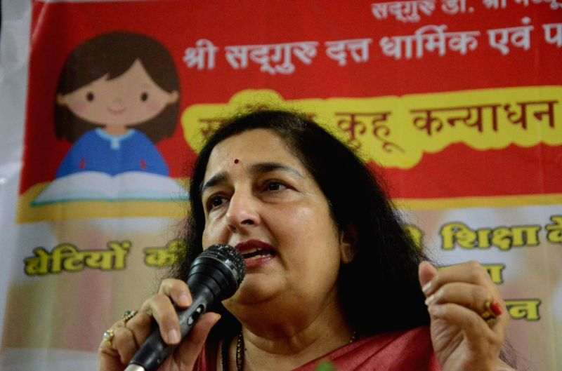 Singer Anuradha Paudwal addresses a press conference in Mumbai on July 25, 2016.