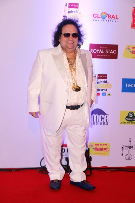 "Singer Bappi Lahiri at the red carpet of ""10th Mirchi Music Awards"" in Mumbai on Jan 28, 2018."