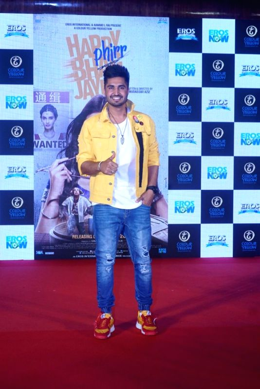"Singer Jassi Gill at the trailer launch of  upcoming film ""Happy Phirr Bhag Jayegi""  in Mumbai on July 25, 2018."